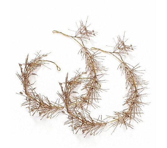 Alison Cork Set of 2 Gold Pre-Lit Beaded Garlands