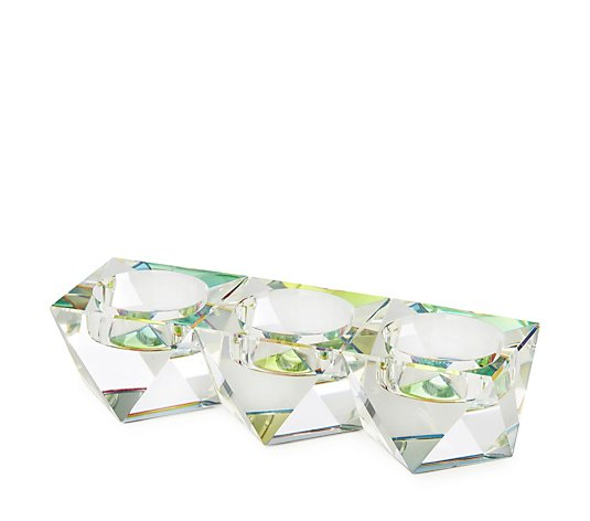 Luxenoa Iridescent Mirrored and Glass Candle Holder