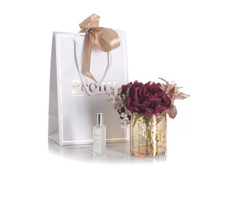 Peony Rose & Hydrangea in a Mercury Glass Vase with 25ml Spray and Giftbag