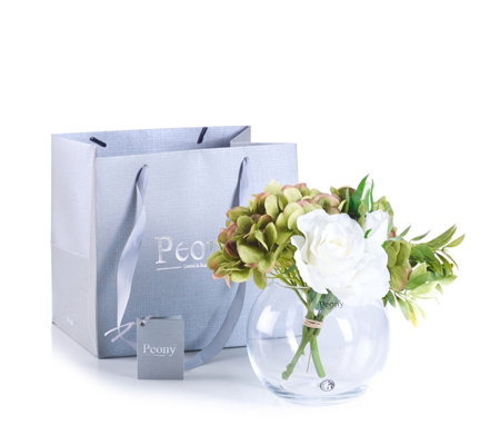 Peony Hydrangea & Rose Handtied in Fish Bowl with Gift Bag