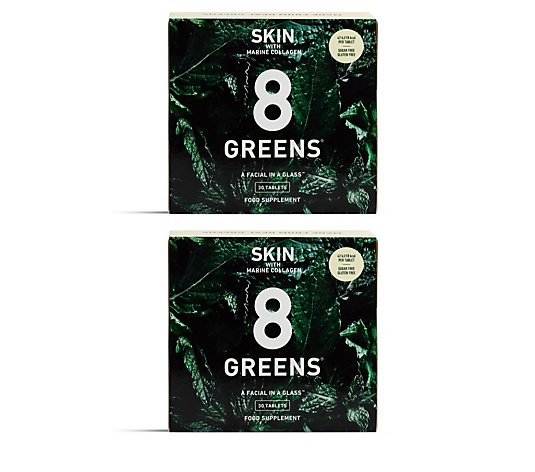 8 Greens Skin Effervescent Drink Tablets with Marine Collagen 60 Day Supply