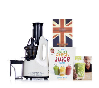 Jason Vale Retro Slow Juicer with Funky Fresh Juice Book & DVD - 805300