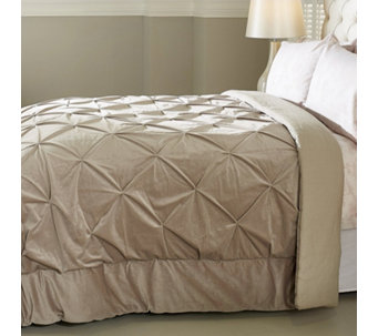 Alison Cork Pintuck Velvet Bedcover with Linen Cotton Reverse - 806301