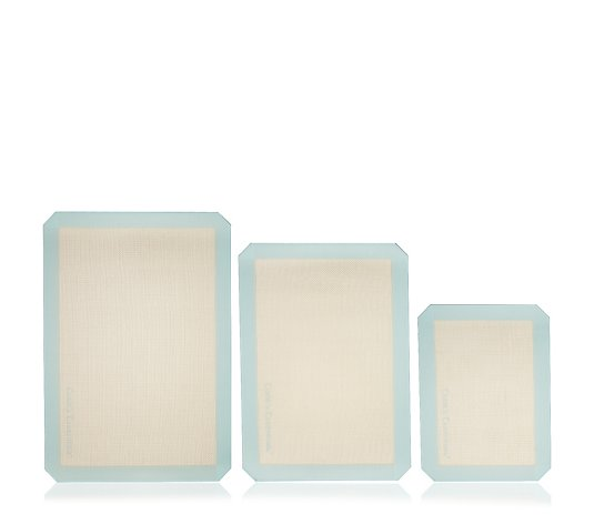 Cook's Essentials Set of 3 Rectangular Silicone Cooking Mats