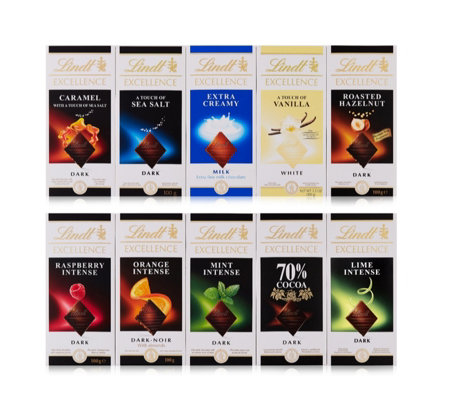 Lindt Set of 10 Assorted 100g Chocolate Bars