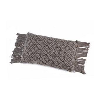 Home Reflections Macrame Fringed Cushion - 805303