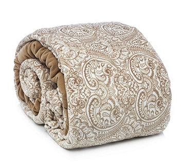 Cozee Home Perfect Paisley Faux Mink Fleece Duvet Set with Deep Fitted Sheet - 806503