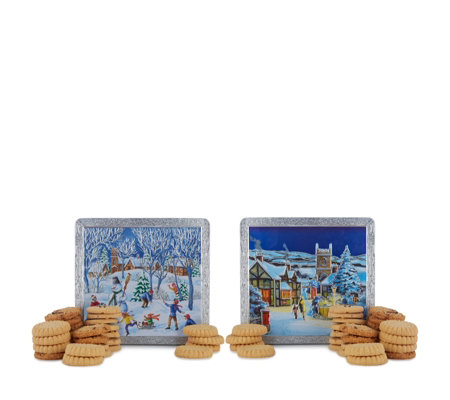 Churchill's Confectionery Set of 2 Winter Scene Tins with Biscuits