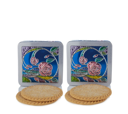 Churchill's Confectionery Set of 2 Rose Garden Tins with Biscuits