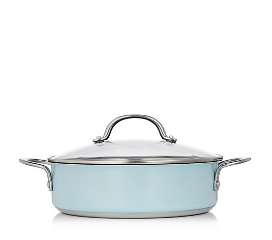 Cook's Essentials 26cm Metallic Stainless Steel Non-Stick Family Saute Pan Lid