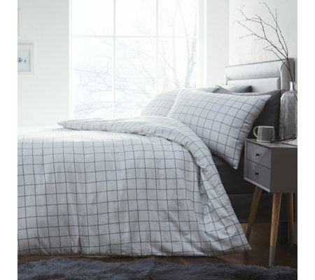 Silentnight Brushed Cotton Checked Duvet Set