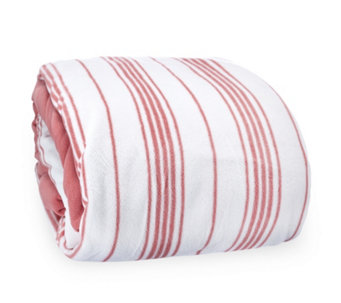 Cozee Home Striped Print Fleece Duvet Set with Deep Fitted Sheet - 806216