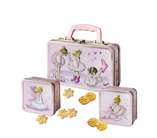 Churchill's Set of 3 Mini Biscuits in Pink Ballerina Tins