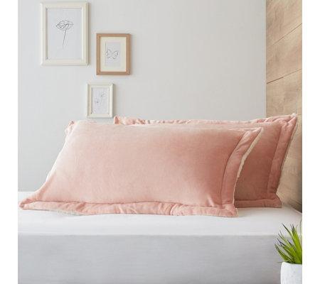 Cozee Home Faux Mink Ultra Fluffie Set Of 2 Pillow Shams Qvc Uk