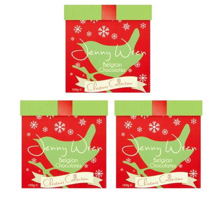 Christmas Gift Boxes.Jenny Wren Set Of 3 Assorted Chocolate Tiered Christmas Gift Boxes Qvc Uk