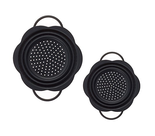 KochBlume 2 Piece 22cm & 28cm Collapsible Silicone Colanders
