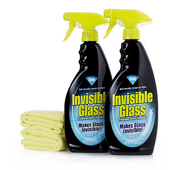 Invisible Glass Set of 2 x 650ml Spray Bottles with 2 Microfibre Cloths - 804134