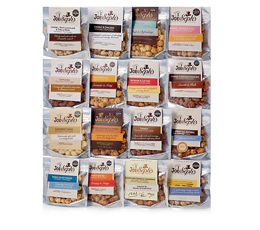 Joe & Seph Set of 16 Award Winning Gourmet Popcorn Snack Packs