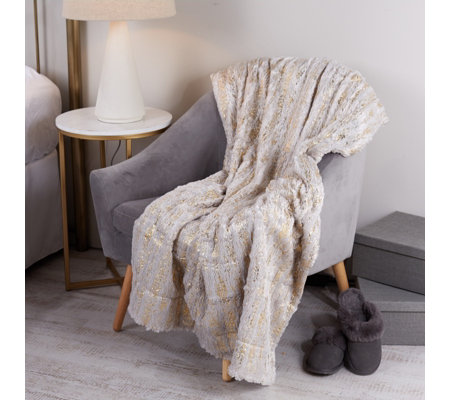 Cozee Home Faux Fur Shimmer Throw