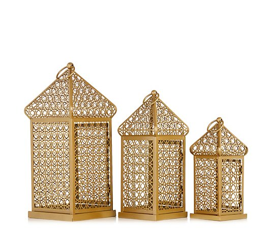 Alison Cork Set of 3 Indoor/ Outdoor Fretwork Metal Lanterns