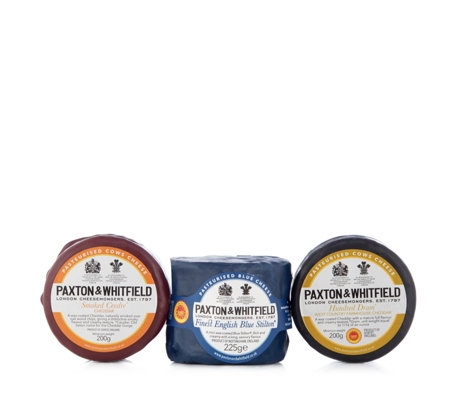 Paxton & Whitfield 3 Piece Cheddar & Stilton Waxed Cheese Selection