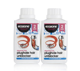Ecozone Set of 2x250ml Plughole Hair Unblocker - 805745