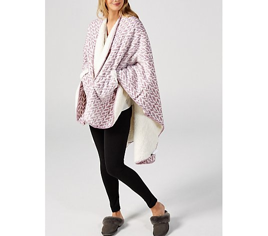Cozee Home Double Braid Print Velvetsoft & Sherpa Wrap