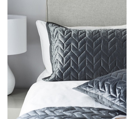 K By Kelly Hoppen 2 Piece Velvet Quilted Shams with Reverse Matte Satin