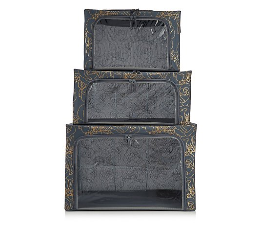 Periea Set of 3 Patterned Collapsible Storage Boxes
