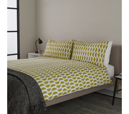 Outlet Habitat Lemon Yellow & Black Printed 3 Piece Duvet Set