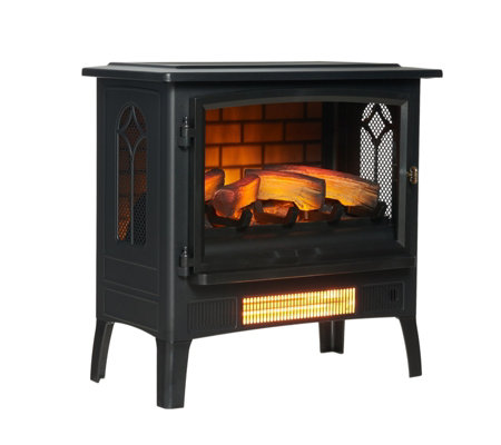 PowerHeat Log Burner Style Infragen Heater w/ 3D Flame Effect & Remote