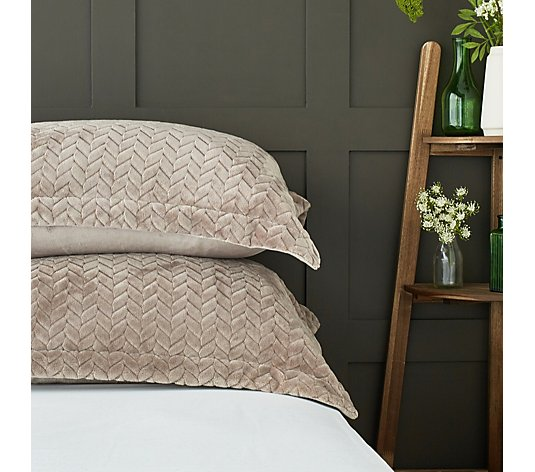 Cozee Home Velvetsoft Braided Texture Filled Set of 2 Shams