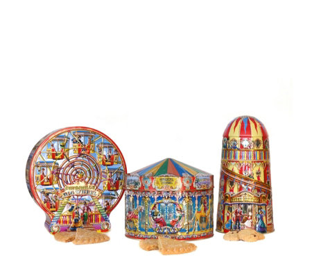 Churchill's Confectionery Set of 3 Fun Fair Tins with Biscuits