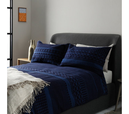 Habitat Bloomsbury Blue Jacquard Duvet Cover Set