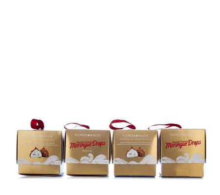 Flower & White Set of 4 Chocolate Covered Meringue Drops in Gift Boxes