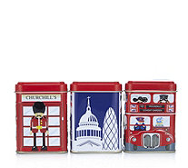 Churchill's Confectionery Set of 3 Mini Souvenirs Tins with Sweets - 807470