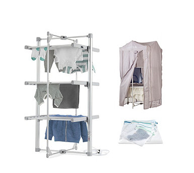 Lakeland Dry:Soon 3-Tier Heated Airer with Cover & 4 Wash Bags - 807872