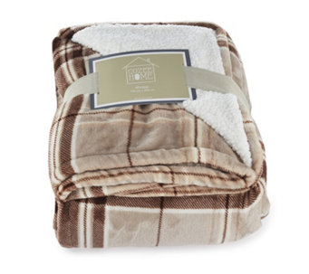 Cozee Home Plush Tartan Sherpa Reverse Throw - 806274