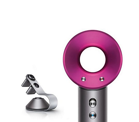 Dyson Iron Fuchsia Supersonic Hair Dryer with Silver Stand