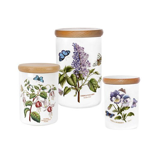 Portmeirion Botanic Garden Set of 3 Assorted Kitchen Canisters