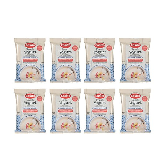 Easiyo Set of 8 Greek Style Strawberry Banana Yogurt