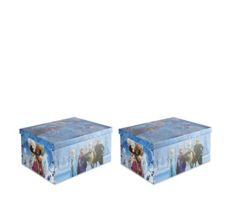 Disney Set of 2 Frozen Cardboard Storage Boxes w/Handles - 804785