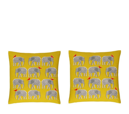 Habitat Topsy Set of 2 Yellow Elephant Patterned Cushions