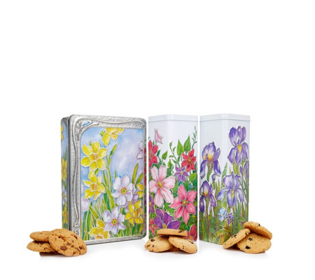 Churchill's Confectionery Set of 3 Flower Tins with Biscuits