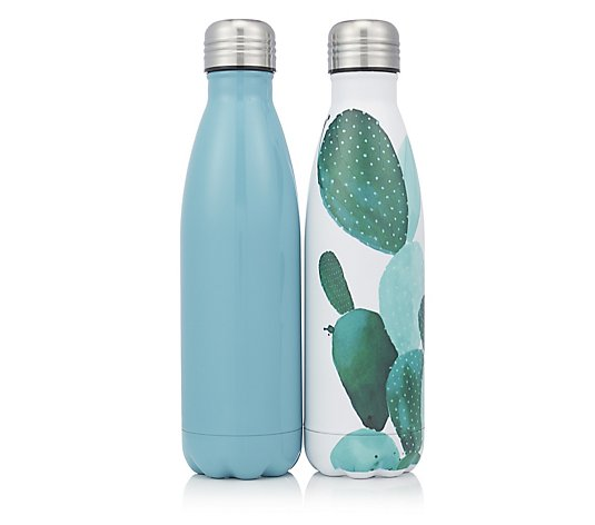 Set of 2 500ml Stainless Steel Vacuum Hot & Cold Drinks Bottles