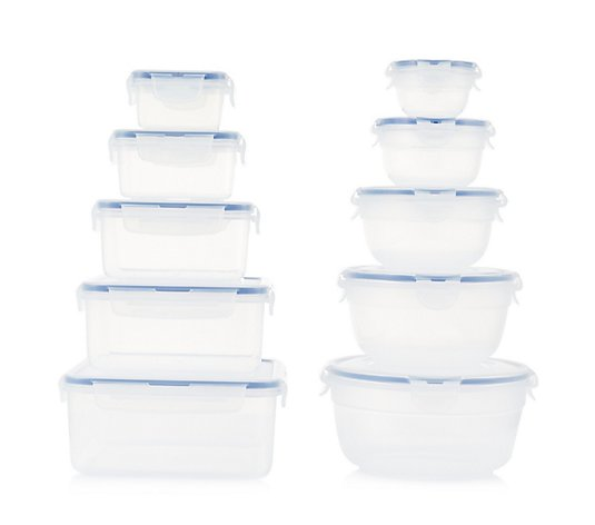 Lock & Lock 10pc Round & Square 100ml-2.1L Container Set