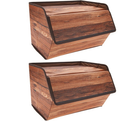 Set of 2 Fabric Storage Boxes with Lid - Page 1 — QVC.com
