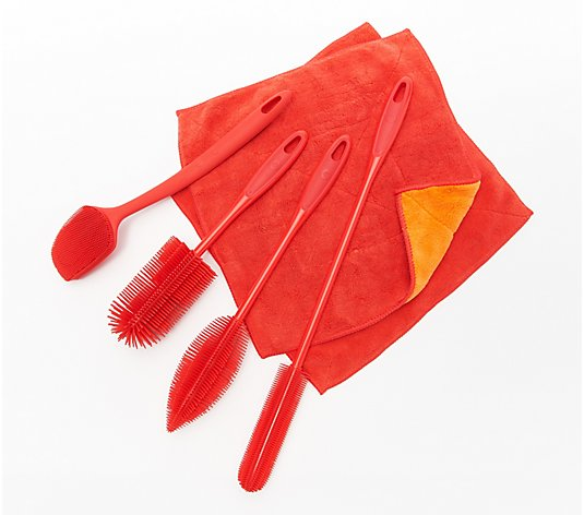 KOCHBLUME 4 Pc Silicone Brush Set with 2 Microfiber Towels