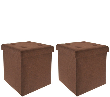 "Fresh Home Elements Set of Two (15"") Folding Ottomans w/Tray"