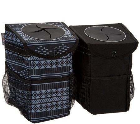 """As Is"" High Road Set of 2 Stash Away Console Trash Organizer"